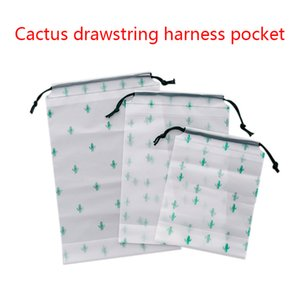 Waterproof Travel Harness Pocket Cactus Drawstring Small Fresh Transparent Frosted Travel Clothes Storage Bag Free DHL