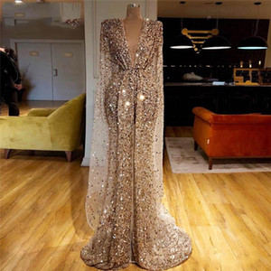 New Champagne ouro Sparkly Oriente Médio Kaftan vestido de noite 2020 Vestidos celebridade Partido Dubai Islamic Long Prom Vestidos Mermaid