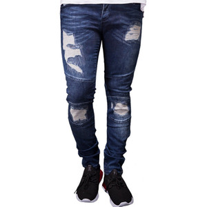 Mens Designer Ripped Biker Jeans Summer Spring Embroidery Denim Blue Draped Hiphop Street Jeans