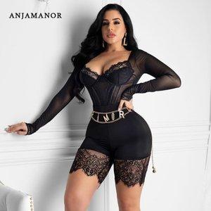 ANJAMANOR moda seksi Rompers Bayan Tulum Clubwear Dantel örgü See Through Uzun kollu Bodycon Playsuit Onesie şort D36AA23 Y200422