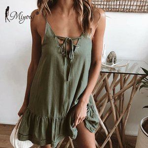 Miyouj Sexy White Beach Dress 2019 Hollow Out Abiti String Sundress Hollow Out Pareos Solido Bikini Cover Up Deep V Neck Dress T190612