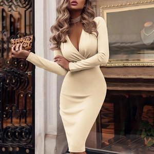 Женская весна и осень длиной до колен платье Глубокий V плиссе Sexy сумка Hip Сплошной цвет с длинным рукавом основывая юбка