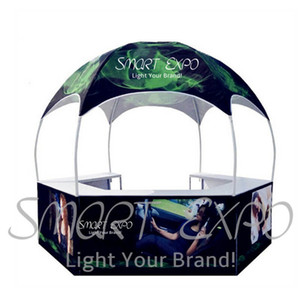 Custom Printed Dome Gazebo Tent 3m Pop Up Kiosk Tent Outdoor Advertising Dome Tent with Dye-Sublimation Graphics and Portable Wheeled Bag