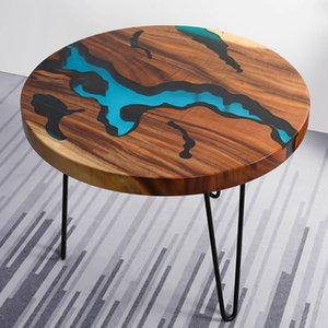 راتنجات الايبوكسي نهر الربط الخشب الصلب الجانب أريكة طاولة القهوة الأثاث الإبداعية طاولة صغيرة الشاي مائدة مستديرة المصنعة حسب الطلب