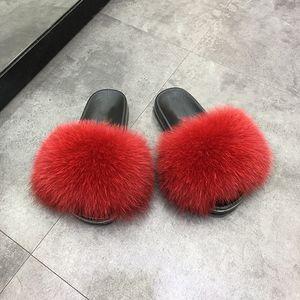 Women fur slides real fox fur slides slippers 2020 hot sell fox fur slides slipper