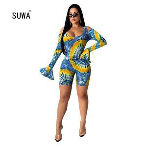SUWA Newon Paisley 인쇄 짧은 낙하산 강하복 2020 뜨거운 판매 여자 O 목 긴 발적 소매는 우연한 Playsuit Streetwear 를 속을 비게 합니다