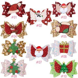 Дети Barrettes Детские Шпилька Bowknot Christmas Glitter Barrettes Xmas Tree Xmas Hat Сант блестки Печать арты подарки Аксессуары для волос LJJA3492