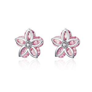 HQ أزهار الكرز أقراط كريستال 925 Stelring الفضة الوردي زهرة الأذن ترصيع الكورية بيان مجوهرات الزفاف عائلة هدية عيد ميلاد