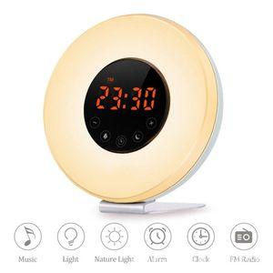 LED Digital Alarm Clock Sunrise Wake Up Light 7 Colors Radio Nature Sound Sunset Simulation Touch Control Snooze Function Wekker