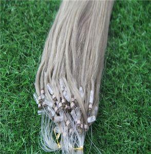 Light Blonde Color Loop Micro Ring Hair Extensions 10-30 Inchs Loop Ring 1g strand 100g Micro Bead Link Human Hair Extensions