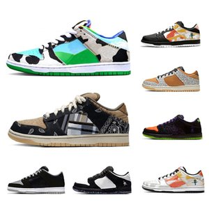 Ben & Jerry's x Nike Dunk SB Travis Scott Stock X Chunky Dunky Dunk Low cut Mens Athletic sports sneakers Panda Pigeon Safari Infrared Shadow University red women men Casual shoes
