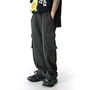 Çoklu cepleri Jeans Erkek Casual Pantolon Yıkanmış Kurdeleler Denim Düz Pantolon Hip Hop Kot Pantolon Geniş paçalı Ripped gevşek