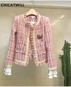 CHICATWILL 2019 Autunno Inverno Donne Tweed Plaid Giacche Donna Catene elegante nappa Tops Outerwears