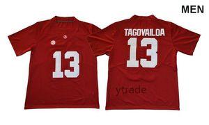 2019 New Men NCAA Alabama Crimson Tide # 13 Трикотажные изделия команды колледжа Tua Tagovailoa Белые красные черные рубашки Футбольная форма Вышитая вышивка