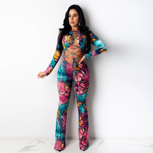 Womens Jumpsuits Summer O-Neck Long Sleeve Skinny Rompers Casual Full Length Women Clothing Butterfly Sexy Bandage