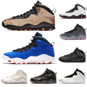En basketbol ayakkabıları 10 erkek Çöl Kamuflaj Jumpman 10s Tinker X VO Beyaz Seattle Powder Blue spor eğitmenleri Stealth ayakkabı tasarımcısı size7-13