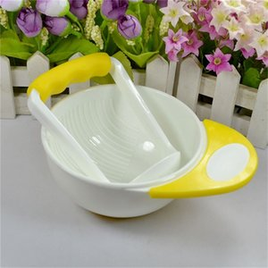 Yellow white baby manual food fruit and vegetable grinding bowls Baby food supplement tool grinding bowl and grinding stick kit