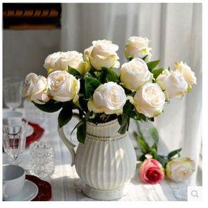 10PCS / 많은 고품질 유럽 시뮬레이션 장미 꽃 인공 장미 꽃 가짜 실크 장미 꽃 웨딩 홈 장식