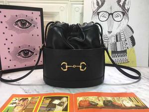 le style cuir véritable sac à main paquet seau Mors mode sac seau femmes crossbody 1955 dame sac chaîne sac 602118 1DBLG 1000