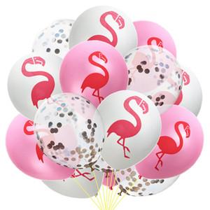 15pcs 12inch Flamingo Imprimer Confettis ballons en latex et Confetti Birthday Party Décorations Mix Rose décoration de mariage hélium Ballon