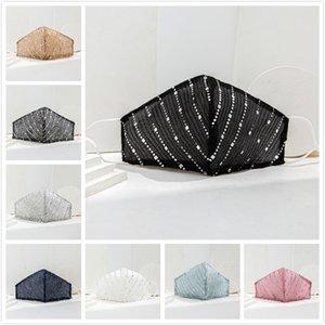 8 couleurs Masques Coton Sequin visage mince pour les femmes en tissu respirant masques anti-poussière lavable soleil Creen réutilisables Masque Designer