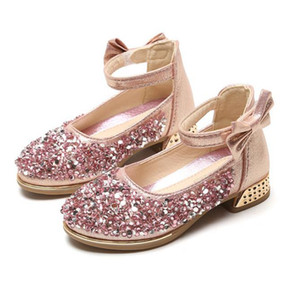 Yeni kız prenses ayakkabıları tek çocuk kristal ayakkabı performansın pul Yapay elmas kızlar