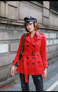 سترات المرأة خندق معاطف قصيرة سليم خندق معطف مزدوجة الصدر Gambardine القطن سترات الكاكي الأحمر البريطاني نمط S-XXL المرأة