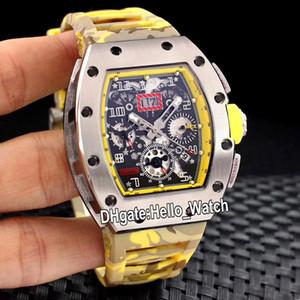 New Flyback Chrono Big Data RM011 Skeleton Dial Automatic Mens Watch Amarelo Inner Aço Camuflagem Rubber Esporte Relógios Hello_Watch