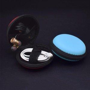 Round Bluetooth Fermeture éclair Câble sac de rangement portable écouteur dur boîte TF carte SD Case