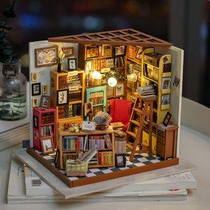 Miniatura Rolife Decoración Figurita bricolaje Sam Sala de Estudio Modelo de madera del regalo de cumpleaños Decoración Kits de muñecas para chicas DG102 Y200106