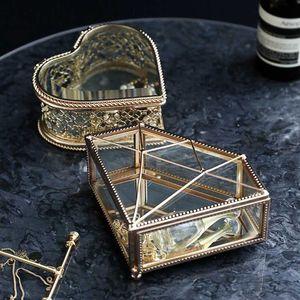 Luxe européen en verre en forme de coeur Boîte à bijoux simple Accueil Chambre Bijoux Bague Collier Boîte de rangement haut de gamme Mini Plateau affichage