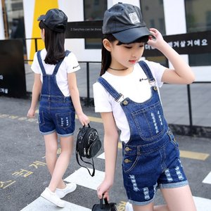 Classic casual crawler girl summer Sling clothing Shorts clothing clothes in the big kids ripped denim suspender shorts children's