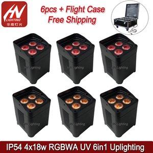 6PCS مع حالة البطارية في الهواء الطلق قدم المساواة 4x18W RGBWA الأشعة فوق البنفسجية للماء LED PAR غسل ضوء اللاسلكية Uplighter مع واي فاي وجهاز التحكم عن بعد