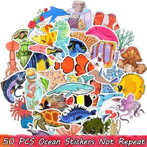 50 PCS impermeabili Ocean Life adesivi per bambini ragazzi di bottiglia fai da te Water Cooler Laptop Tablet Deposito ufficiale favori di partito Room Decor