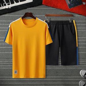 Summer Men's Track Suits Tshirts Shorts Sets Polyester Fashioin Male Tracksuits T-shirt Bermuda Masculina Board Shorts Patchwork T200628