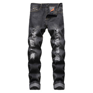 CALOFE 2019 Sıcak Moda Delik Jeans Erkekler Hollow Çıkan Dilenci Kırpılmış Biker Motosiklet Pantolon Erkek Kovboylar Demin Pantolon Ripped