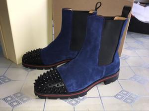 De estilo Hot Sale Botas de fundo vermelho sapatilha picos homens botas de camurça sola de couro sapatos de homens vermelhos ankle boot melão Motos Super perfeito para homens