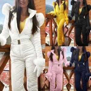 Las mujeres traje para la nieve caliente del invierno de deportes al aire libre pantalones de esquí Traje impermeable Mono 2019 Moda Trajes de trabajo para las mujeres Macacão Femenino