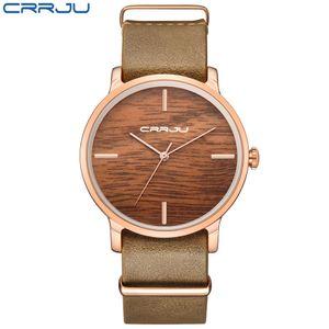 Piel CRRJU Mujeres Moda Simulación de madera Relojes Los hombres de color ocasional del cuarzo del amante de madera de la correa de reloj de pulsera Relogio Masculino