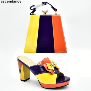 Designer Shoes Women  2019 Italian Shoes with Matching Bags Set Decorated with Rhinestone Nigerian and Matching Bags
