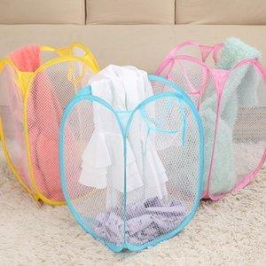 Multi Color Mesh Open Up Washing Laundry Hamper Foldable Laundry Basket Household Clothing Organizer Dirty Clothes Basket