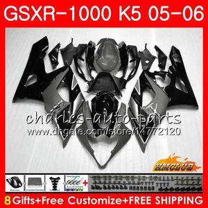 Karosserie für SUZUKI GSXR-1000 K5 GSXR1000 05 06 Karosserie-Kit 11HC.102 GSX R1000 GSXR 1000 grau schwarz heiß 2005 2006 GSX-R1000 05 06 Verkleidung + Motorhaube