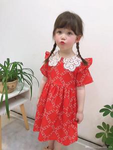 платье 2020 новые стили летние девушки мультфильм цифровой Письмо печати изысканный полый воротник элегантный принцесса великолепный хлопок платье 3 цвета