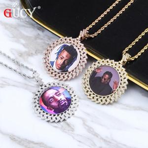 4MM Tenis Zinciri Kübik Zirkon Erkek Hip hop Takı ile GUCY Yeni Özel Made Fotoğraf Yuvarlak Madalyonları kolye kolye