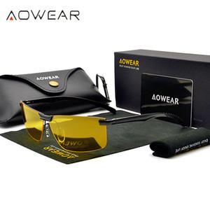 Herren Nachtsichtbrille Brille HD Sight Nachtfahrbrillen Männer polarisierten Sonnenbrillen Gelb für Fahrer Oculos Gafas de sol T191230