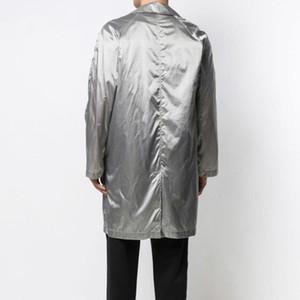 Moda a lungo Trench Coat europea High Street comodo coppie Loose Women e Mens d'argento del cappotto del rivestimento HFXHJK021