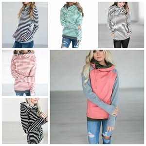 Girls Hoodies Patchwork Pocket Hooded Coats Striped Long Sleeve Sweatshirts Fashion Jumpers Tops Pullover Hoodies Casual Outerwears D7062