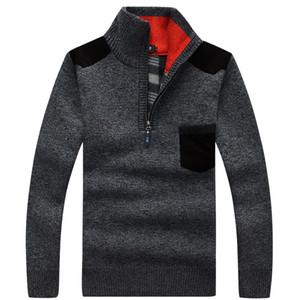 Взрыв пятно толстого свитера мужских высокого воротника пуловеров мужских трикотажных рубашки поло среднего возраста плюс бархат шерсть пальто свободных футболки