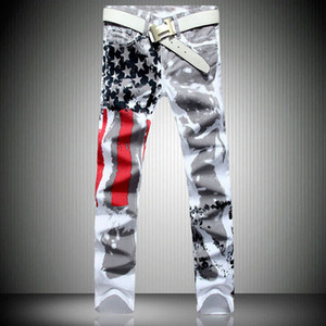 2020 New Fashion Mens American USA Flag Printed Jeans Straight Slim Fit Trousers Plus Size 38 40 42 Casual Jeans Pants For Men
