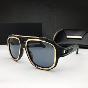 남성 디자인 금속 빈티지 선글라스는 검은 색 사각형 프레임 블루 렌즈 새로운 색상 최고 품질의 여름 야외 아방가르드 UV400 렌즈를 백만 장자